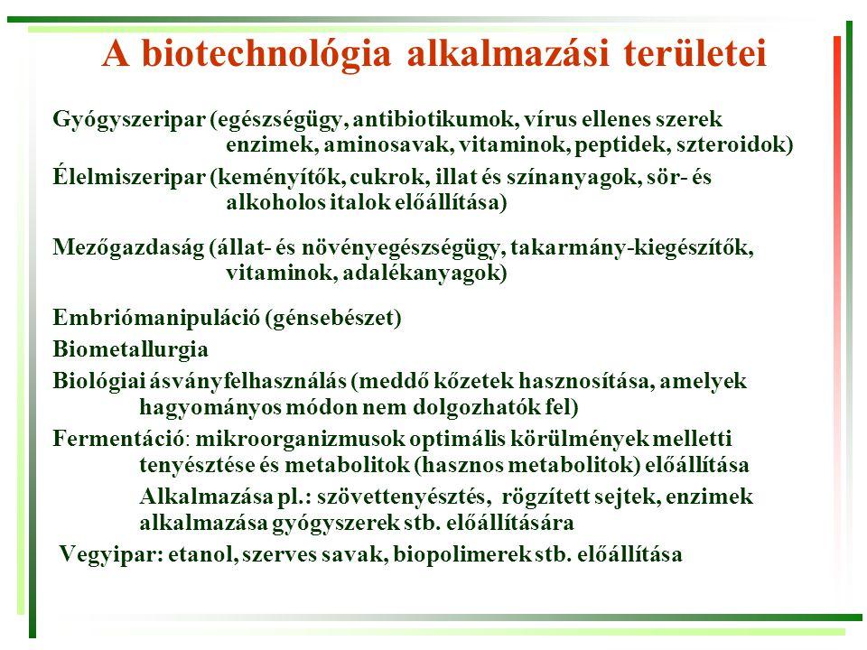 A fermentációs (biotechnológiai) eljárások céljai/lehetőségei Sejttömeg termelés — pékélesztő, SCP Sejtkomponensek előállítása — intracelluláris enzimek, poliszacharidok, nukleinsavak… Metabolit termelés — primer: etanol, tejsav… szekunder: antibiotikumok Egyszerű szubsztrát konverzió — glükóz  fruktóz penicillin  6-NH 2 -penicillánsav Multi-szubsztrát konverzió — biológiai szennyvíztisztítás