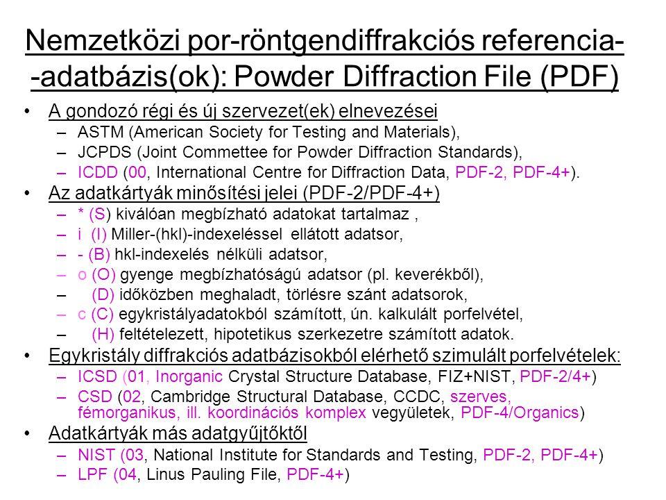 Az adatbázis megjelenési formái (katalógus kártyák, könyvek, CD-ROM, relációs adatbázis PDF-2, PDF-4+, PDF-4/Minerals, PDF-4/Organics) –ICDD (International Centre for Diffraction Data), kb.
