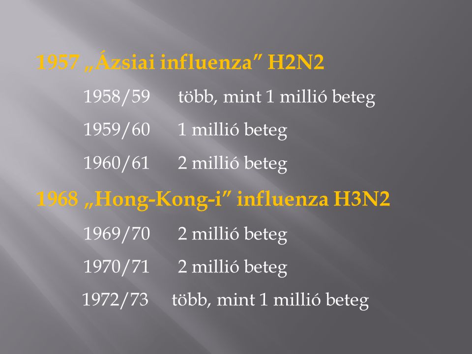  A múlt században, az 1918 évi pandémia enyhe lefolyású járványként kezdődött, majd 6 hónapon belül halálos megbetegedést okozó formában tért vissza és a becslések szerint 40-50 millió áldozatot szedett.