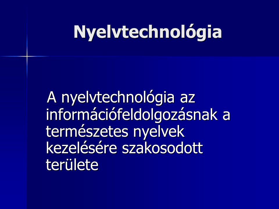 A nyelvtechnológia ágai beszédfelismerés és beszéd-előállítás szövegosztályozás szövegkivonatolás információ-visszakeresés információkivonatolás természetesnyelvi lekérdező rendszerek beszéltnyelvi dialógusrendszerek gépifordítás