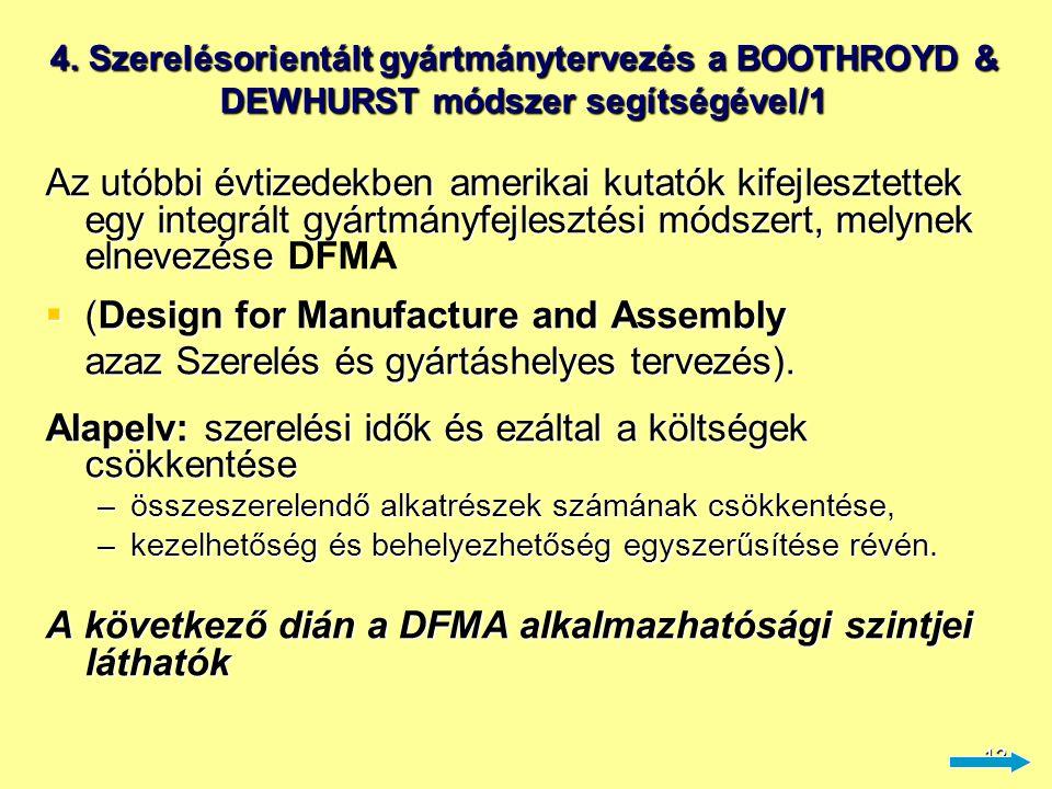 13 4. Szerelésorientált gyártmánytervezés a BOOTHROYD & DEWHURST módszer segítségével/2