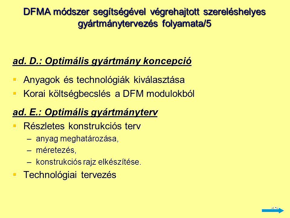 19 DFA modulok ismertetése/1 A.Manuális szerelésre tervezés  meghatározandó adatok: –Kezelési költség –Behelyezési idő –Szerelés költsége –Minimális alkatrészszám  az elemzés eredménye: –szerelés hatékonysági mutató (EM minimum 35% a cél) –(milyen méretű hatékonyság növelésre van még lehetőség ?)
