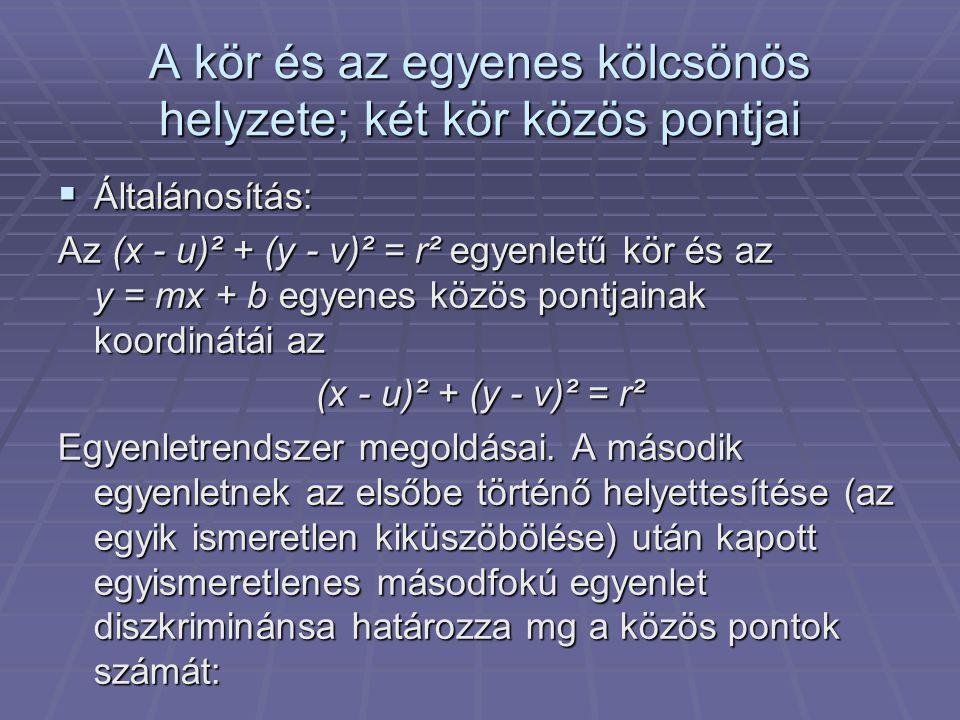 ↓ - Ha s diszkrimináns pozitív, akkor az egyenes két pontban metszi a kört; - Ha a diszkrimináns 0, az egyenes érinti a kört; - Ha a diszkrimináns negatív, akkor az egyenesnek és a körnek sincs közös pontja.