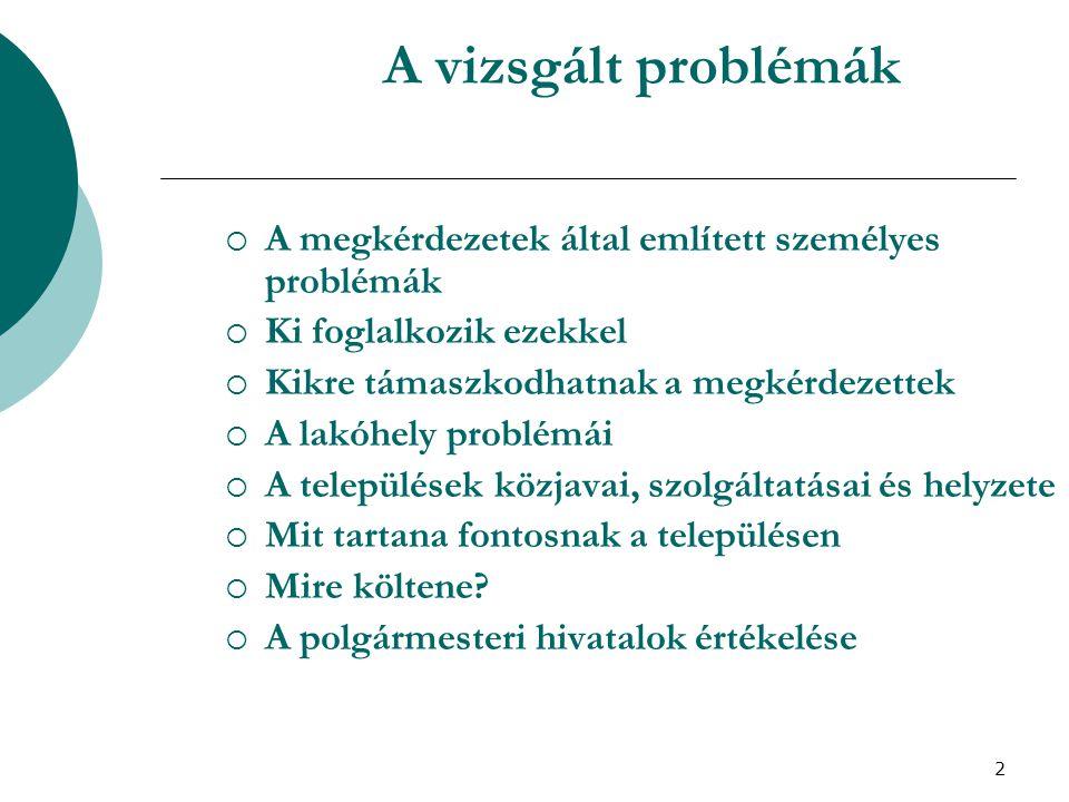 3 Az ismertetett kutatások néhány jellemzője  2003-ban került sor Szabolcs-Szatmár-Bereg megyében a Megyei Területfejlesztési Tanács megbízásából reprezentatív lakossági minta keretében a háztartások, valamint a háztartásokban élők helyzetének a vizsgálatára.