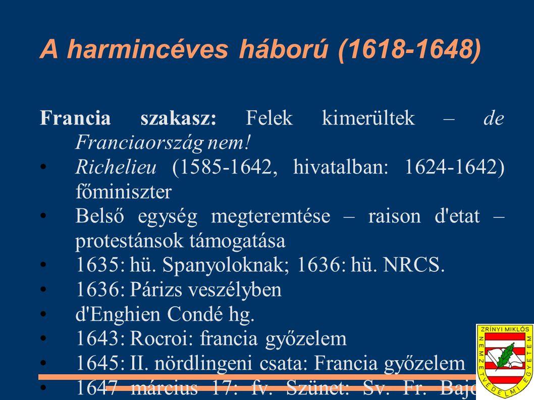 A vesztfáliai békerendszer és következményei Münster: 1648 január 30.