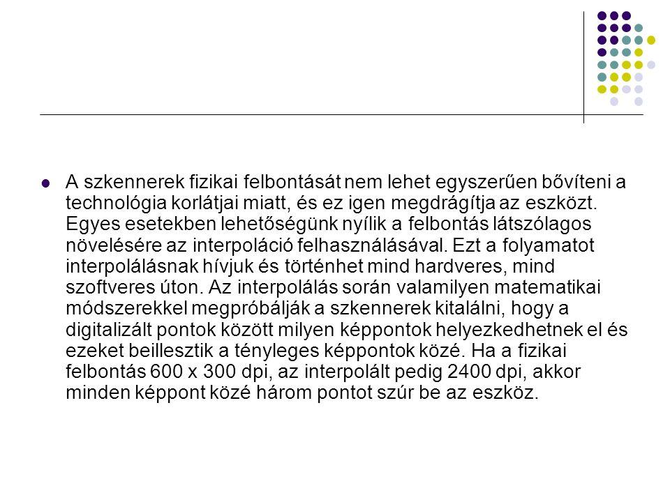 Szkennerek típusai kézi szkenner (pl.
