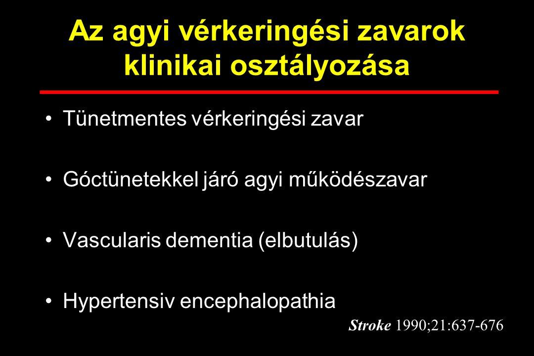 A STROKE Az agy akut vérkeringési zavara következtében Neurológiai tünetekkel (góctünetek, tudatzavar) jár.