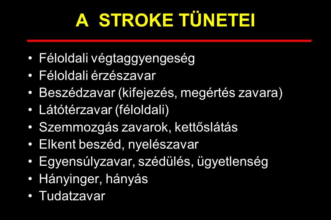 A STROKE TÍPUSAI Ischaemiás stroke –Ahero-thromboticus (75%) –Emboliás (20%) –Haemodynamikai ok Vérzéses stroke –Állományvérzés (10%) –Subarachnoidealis vérzés (pókhálóhártya alatti) (5%)