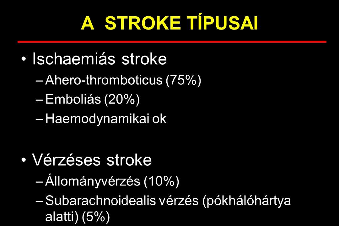 A STROKE TÍPUSAI Ischaemiás stroke –thromboticus –emboliás –haemodynamikai ok Vérzéses stroke –állományvérzés –subarachnoidealis vérzés
