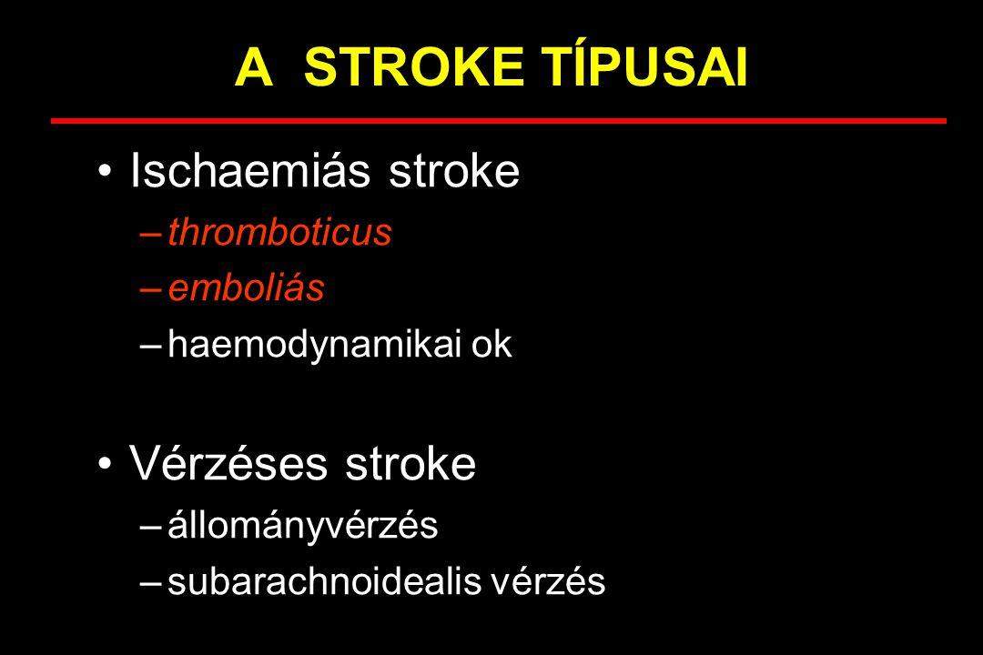 A STROKE TÍPUSAI Ischaemiás stroke –thromboticus –emboliás –haemodynamikai ok Vérzéses stroke –Agyi állományvérzés –Subarachnoidealis vérzés