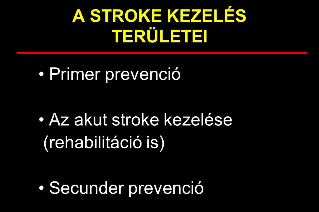 Az acut ischaemiás stroke kezelése Nem specifikus kezelés –láz –vércukor –vérnyomás Specifikus kezelés –0.9 mg/kg rtPA, 3 órán belül= TRHOMBOLYSIS –napi 100-300 mg ASA 48 órán belül