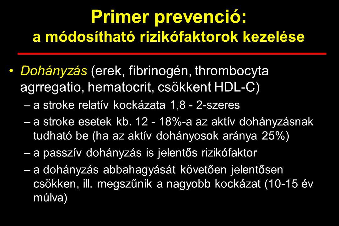 Primer prevenció: a módosítható rizikófaktorok kezelése Pitvarfibrillatio –az anticoagulans kezelés 68%-kal csökkenti a stroke kockázatát –pitvarfibrillatio esetén mérlegelni kell az egyéb kockázati tényezőket és a vérzéses szövődmények lehetőségét –a fentiek alapján kell dönteni a véralvadásgátló vagy a thormbocyta aggregatio gátló kezelés mellett
