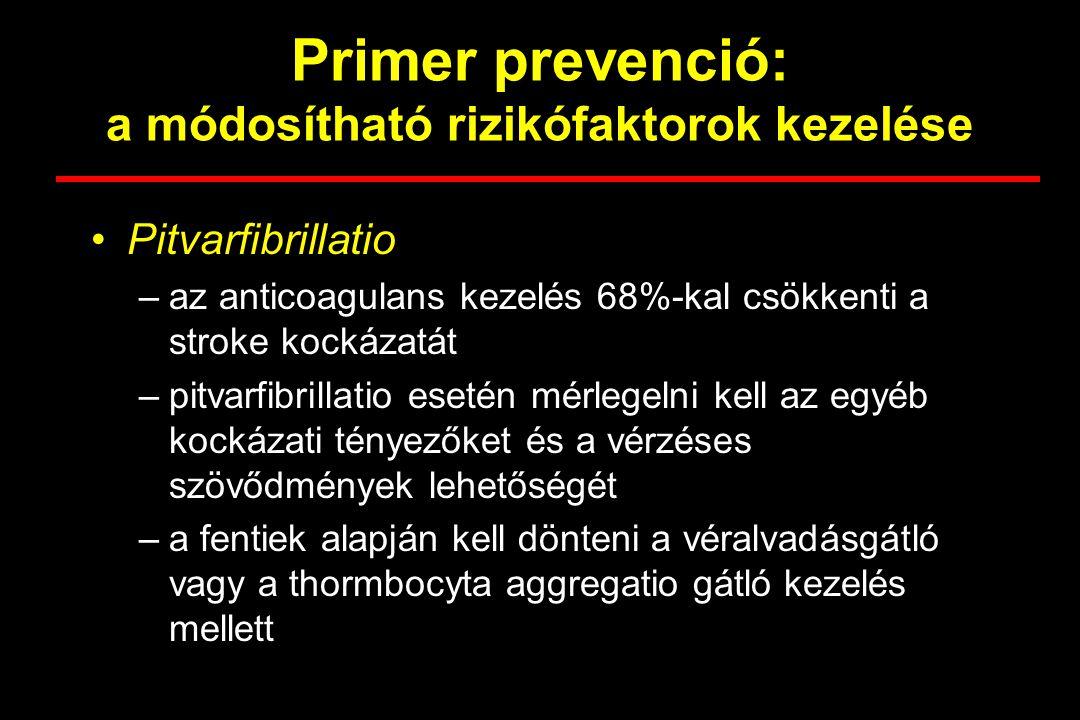 Primer prevenció: a módosítható rizikófaktorok kezelése Hyperlipidaemia –szerepe a coronariabetegségben egyértelmű, a stroke-ban kevésbé –coronariabetegségben magas koleszterinszint esetén a simvastatin és a pravastatin >30%-kal csökkentette a stroke-ok és a TIA-k előfordulását