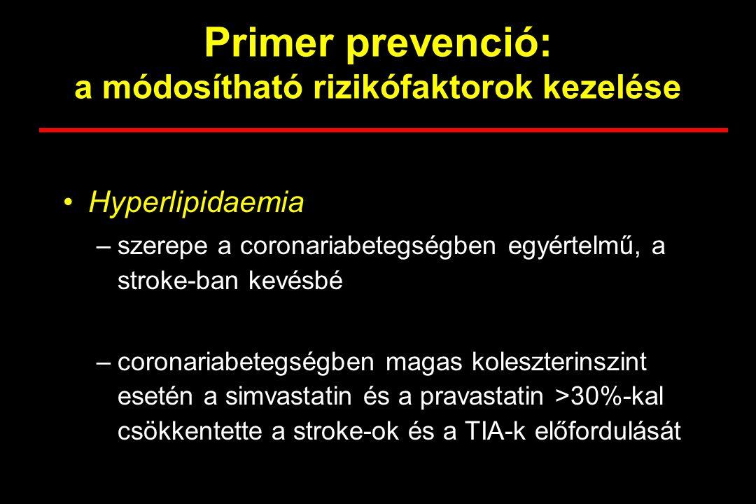 Primer prevenció: a módosítható rizikófaktorok kezelése Tünetmentes carotis stenosis –a 65 évesnél idősebbekben az 50%-nál súlyosabb carotis stenosis aránya 5-10% –megkísérelhető az endarterectomia súlyos stenosisnál, egyébként jó állapotú betegnél, ha a sebészi centrumban a 30 napos perioperativ szövődmények aránya 3% alatti