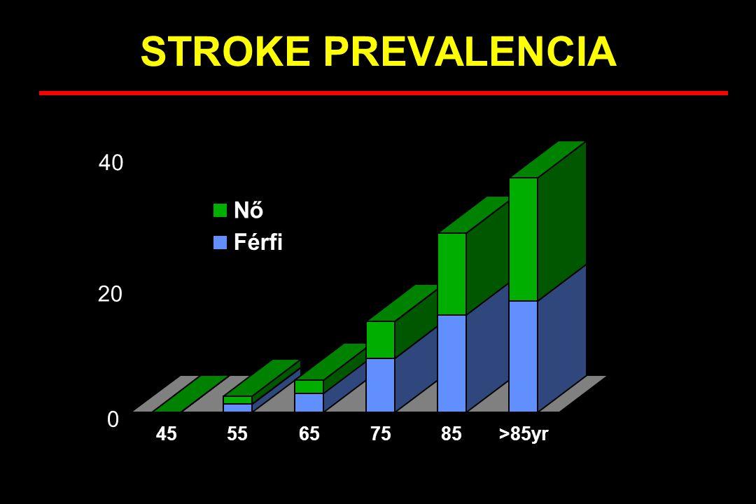 A stroke halálozás változása néhány szomszédos országban Ausztria Magyarország Románia Ukrajna WHO, 2000 Standardizált halálozási arányszám, cerebrovascularis betegségek, minden korcsoport/100.000