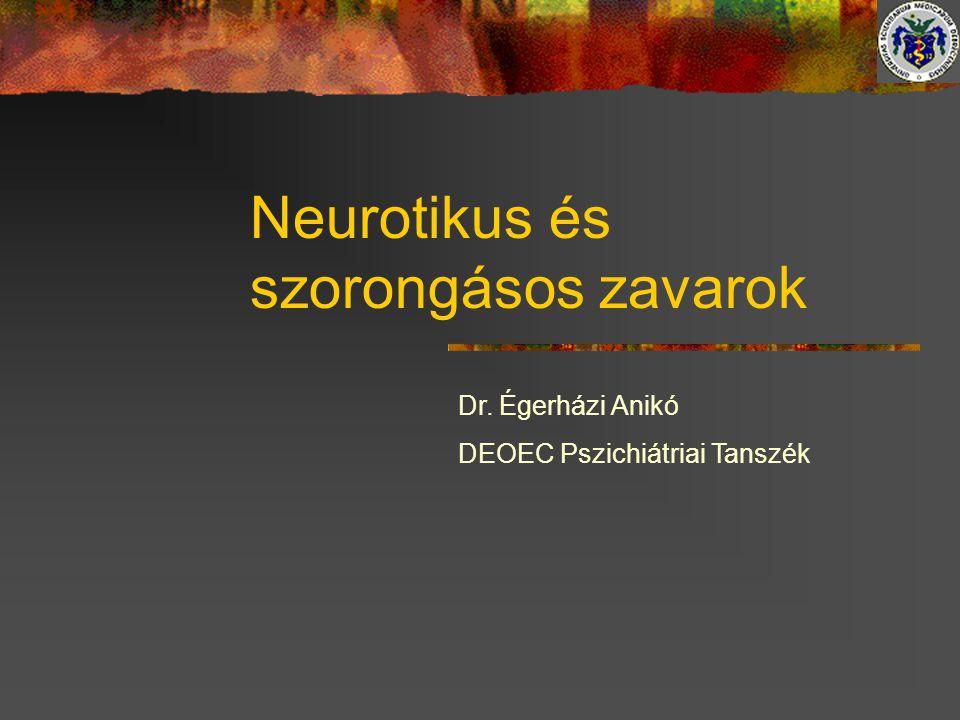 A neurózis változó arca Ókor- hysteria, hypochondria MacCullen (1776)- neurosis fogalom Briquet (1856)- hysteria Sydenham (1878)- hypochondriy Beard (1878)- neurasthenia részletes leírása Charcot, Janet, Beuer, Freund- neurosisok osztályozása Kraepelin (1893)- elmebetegségek rendszere MacCullen- A neurózis olyan idegrendszeri betegség, melynek nem ismert a kórbonctani alapja.