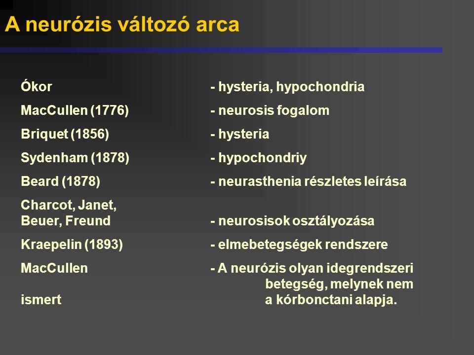 A neurózisok osztályzása A kiváltó élmény jellege szerint: - exhausztív - baleseti - járadék, stb.