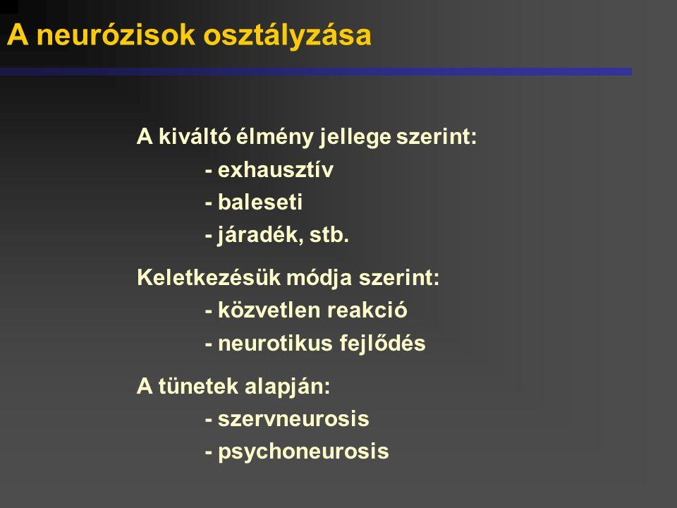 A neurózis változó arca Eltérő értelmezések és kórbonctani feltevések alakultak ki, a modern nosológiai rendszerek T Ü N E T I L E Í R Á S O K alapján határozzák meg az ide sorolható betegségeket.