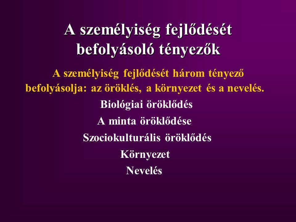 Biológiai öröklődés Kromoszóma = sejttani egység, mely az öröklődésért felelős anyagot tartalmazza Gén = az öröklődés funkcionális egysége, a DNS molekula egy meghatározott szakasza Mutáció = a gének sorrendjében bekövetkező módosulás, kimaradás Genotipus = a szülőktől öröklött gének összessége Fenotipus = a genotipusnak az a része, amelynek megfelelő tulajdonságok megjelennek az utódokban Az öröklődés az a folyamat, amelynek során az utódokban megjelennek a szülőktől öröklött gének, ill.