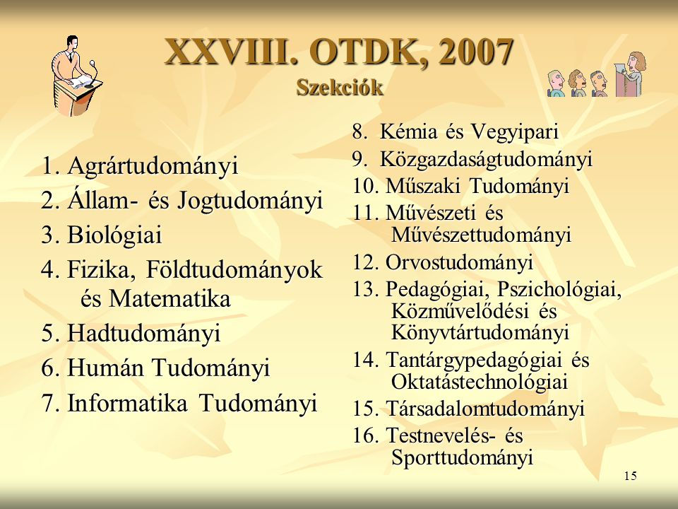 16 Nevezések és bemutatott dolgozatok száma Szekciók Nevezés 2003 Dolgozat 2003 Nevezés 2005 Dolgozat 2005 Nevezés 2007 Humán Tud.