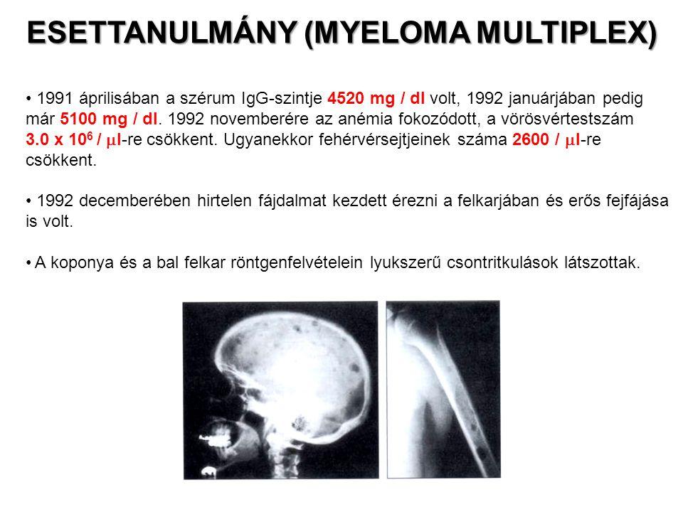 Melphalan- (metil-fenil-alanin-mustár), kortikoszteroid- és sugárkezelést kapott, aminek hatására tünetei javulni kezdtek.