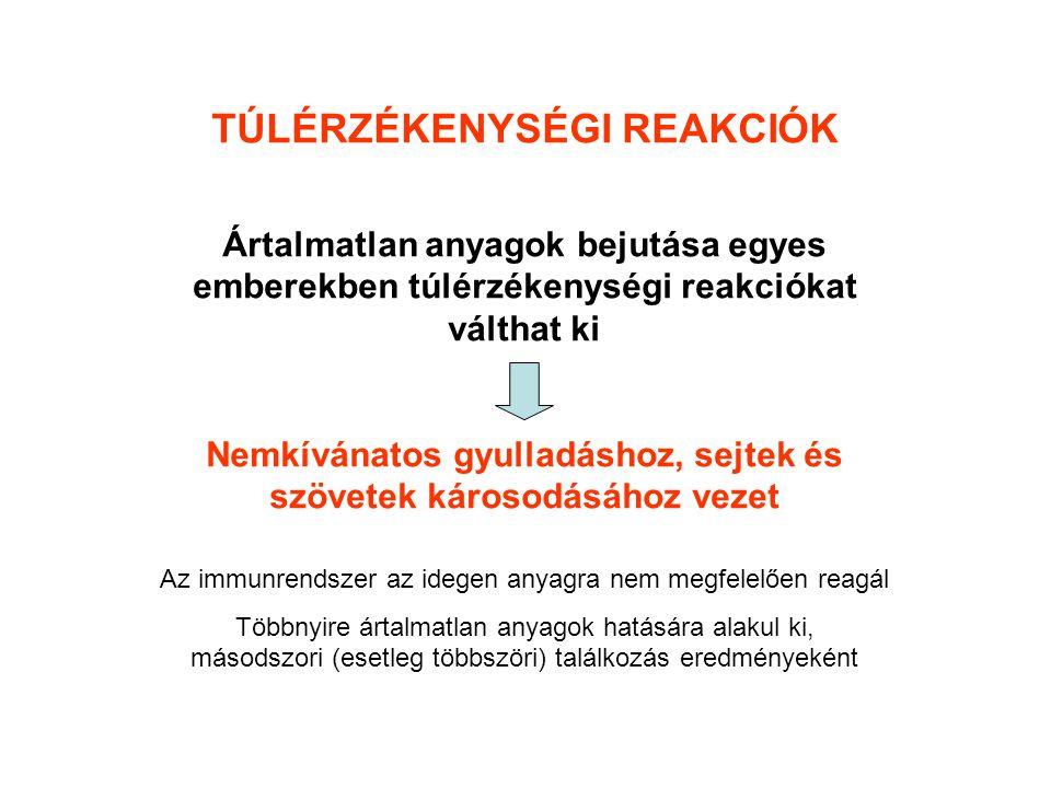 """TÚLÉRZÉKENYSÉGI REAKCIÓK ÁTTEKINTÉSE I.típusú """"azonnali II."""