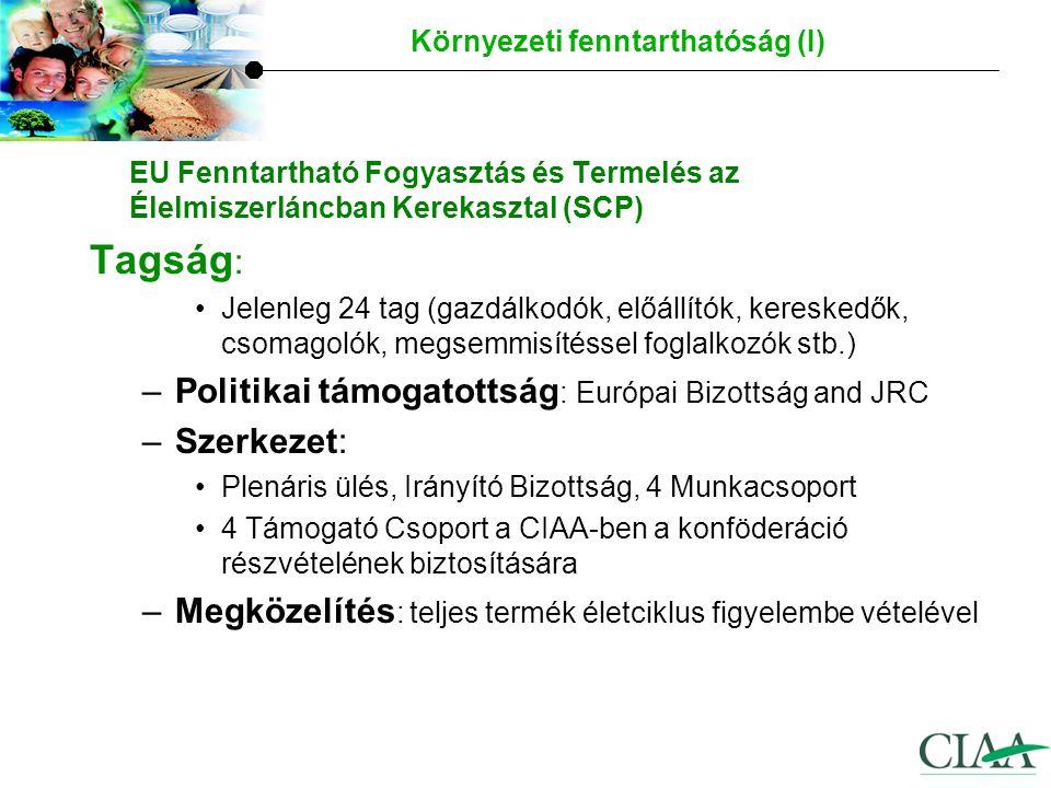 EU Fenntartható Fogyasztás és Termelés az Élelmiszerláncban Kerekasztal (SCP) –A kerekasztal 3 fő célja: 1.Tudományosan megbízható és egységes környezeti hatásvizsgálati módszerek kidolgozása az élelmiszerekre 2.Megfelelő eszközök azonosítása és útmutató készítése a környezeti hatásokra vonatkozó, a fogyasztóknak és a többi érdekelt félnek szánt önkéntes tájékoztatásról 3.A a környezetre gyakorolt hatások folyamatos csökkentését szolgáló fejlesztések elősegítése a teljes élelmiszerlánc területén.