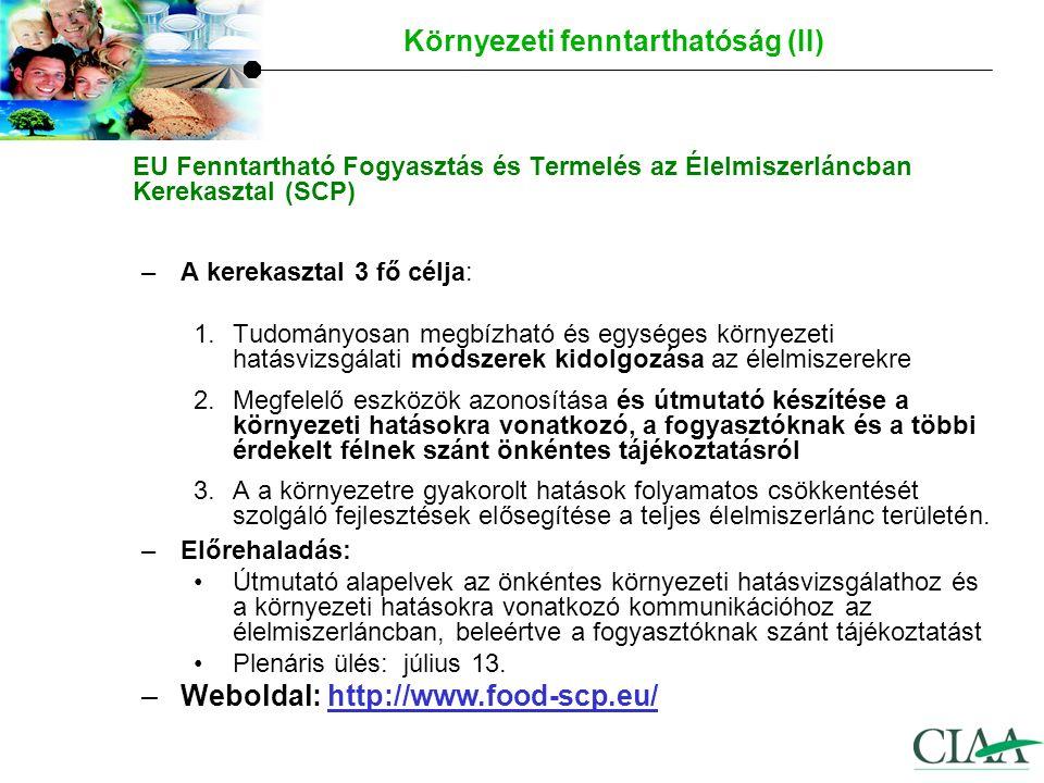 I.Az EU élelmiszeripara – Tények és számadatok II.Versenyképességi tényezők – helyzetértékelés III.Néhány aktuális téma: Az élelmiszergazdaság versenyképességével foglalkozó Magas Szintű Munkacsoport Jobban működő élelmiszer ellátási lánc Európában Étrend & táplálkozás Élelmiszerbiztonság, K&F ügyek Környezeti fenntarthatóság Kommunikáció Áttekintés