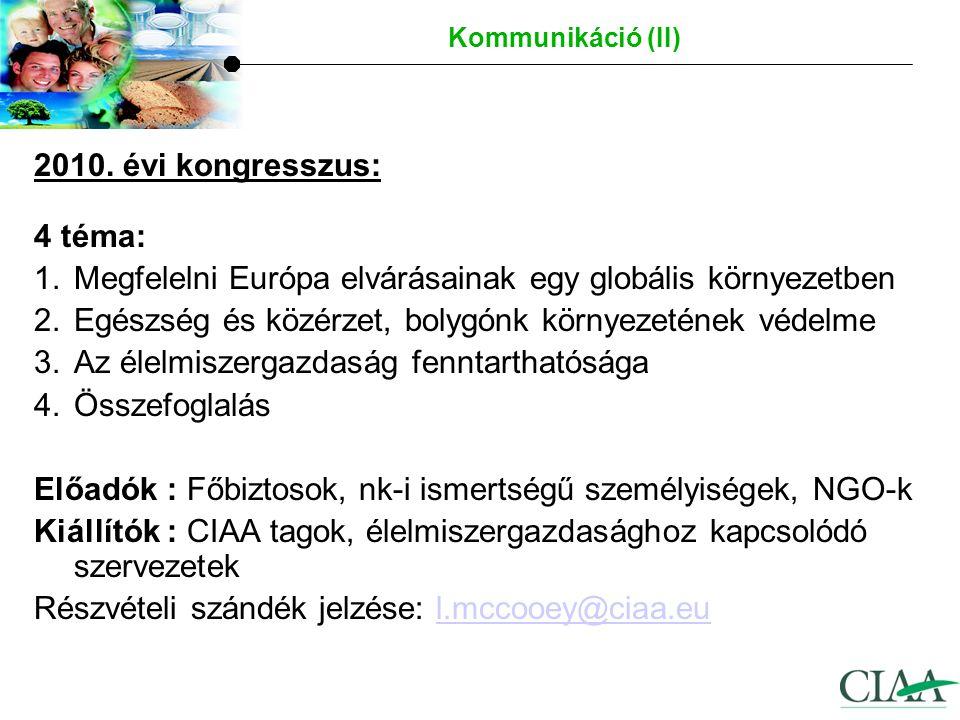 A Konföderációra vonatkozó bővebb információ az alábbi honlapon található www.ciaa.eu Hírek, állásfoglalások és kiadványok