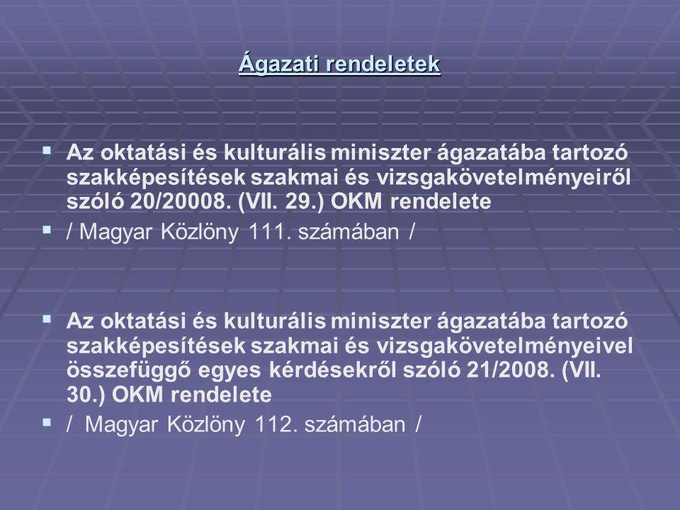Az előbbi rendelet kiadását (minden szakképesítésért felelős miniszterre vonatkozóan): A szakképzésről szóló 1993.