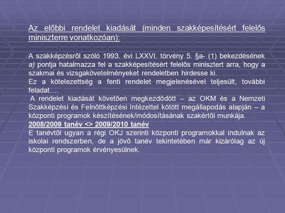 Az új ágazati szabályozás hatálybaléptetése: Szakmai és vizsgakövetelmények (szvk) 2008.