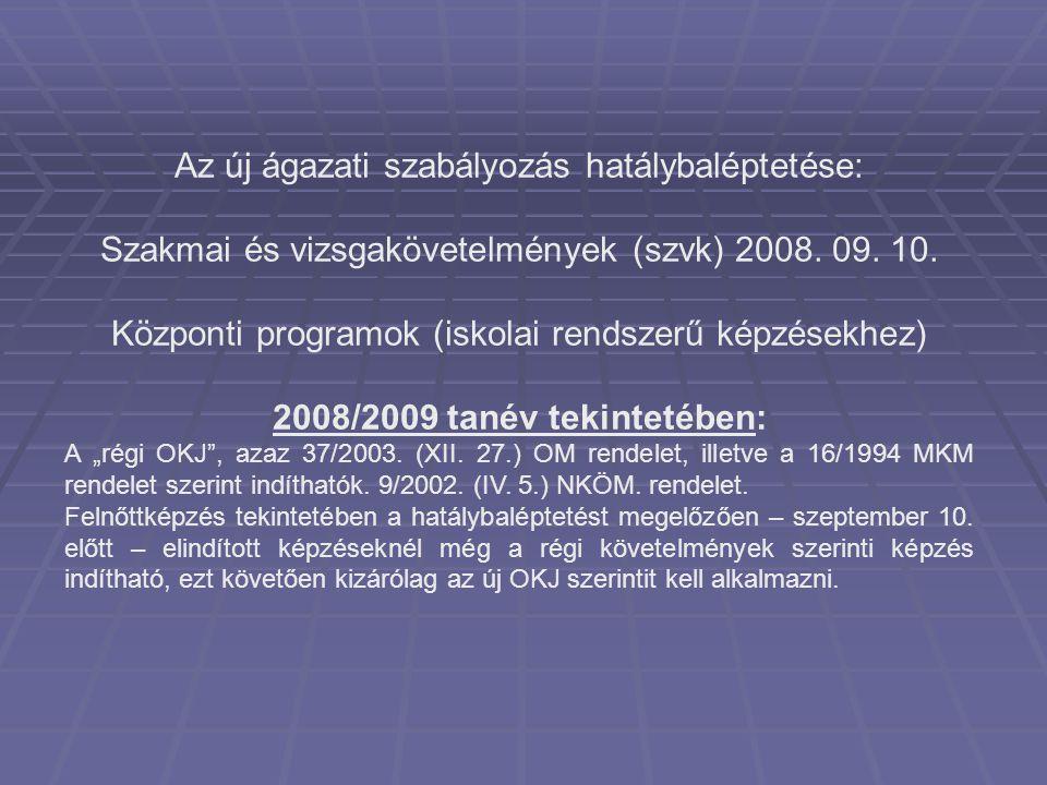 Vizsgaszervezés 2008 – átmeneti rendelkezések az ágazati szabályozásban  Az oktatási miniszter hatáskörébe tartozó szakképesítések megszerzésére irányuló szakmai vizsga szervezésére feljogosított intézményekről szóló 18/2004.