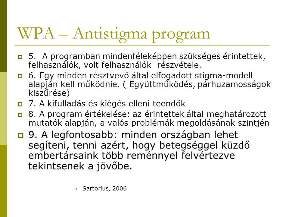 WPA – Antistigma Program  Magyarországról egy civil network csatlakozott az Ébredések Alapítvány és a MAT vezetésével  Dec.