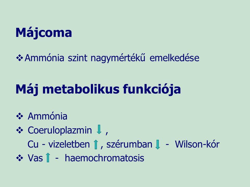 Májfibrózis   Májbiopszia ma már kiváltható laboratóriumi vizsgálattal   ELF teszt (Enhanced Liver Fibrosis test: hialuronsav + prokollagén III N terminalis peptid + metalloproteináz 1 szöveti inhibitor) ELF score < 7,7 nincs, vagy enyhe fibrózis 7,7 - 9,8 közepes fibrózis > 9,8 súlyos fibrózis