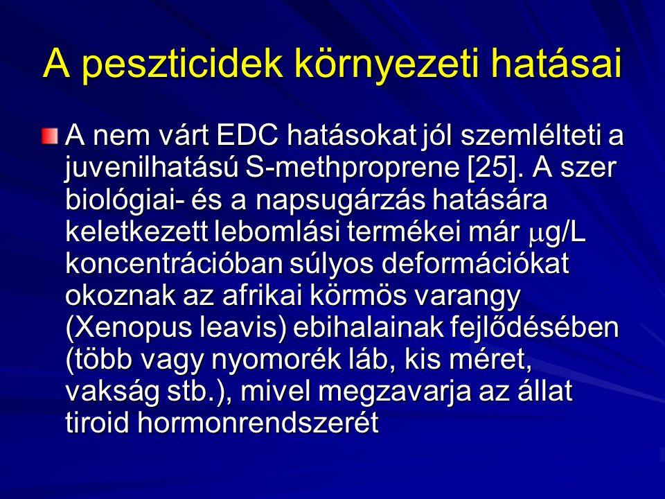 A peszticidek környezeti hatásai A nem-klórozott peszticidek közül az EDC kutatás leggyakrabban a herbicid atrazine EDC hatásaival foglalkozik A vegyület hím békák (Rana pipiens) kifejlődését gátolva hermafroditizmust okoz már 0,1 ppb, a környezetben megszokott szinten is