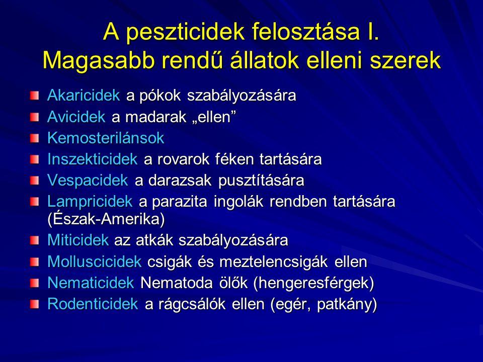 A peszticidek felosztása II.