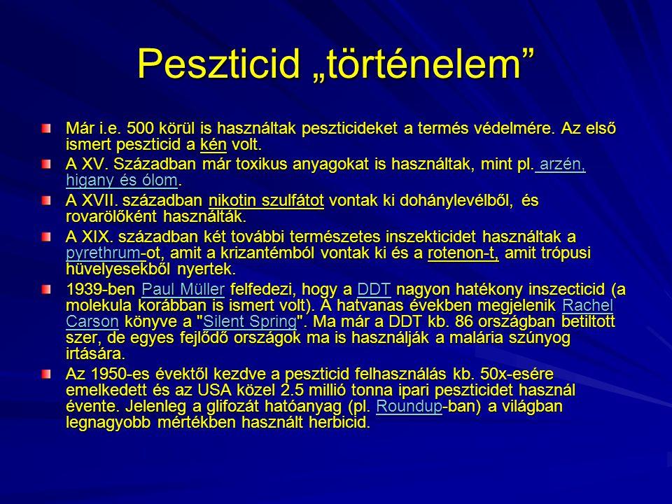 A peszticidek rövid története 1920-1930: technológiai és vegyi forradalom Intenzív K+F a peszticidek és fungicidek (DDT: 1939) területén.