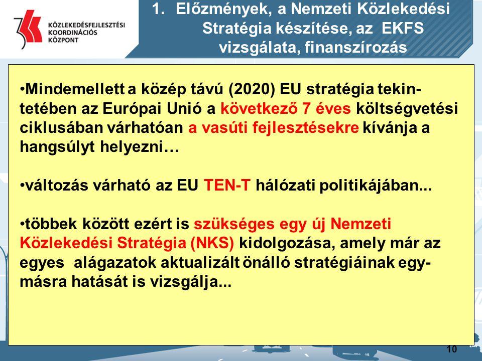 11 1.Előzmények, a Nemzeti Közlekedési Stratégia készítése, az EKFS vizsgálata, finanszírozás jelenleg egyes közlekedési alágazatokban folynak projekt előkészítési munkák, amelyeknek a stratégiai keretét a 2008-ban elkészített és Brüsszelben is jól ismert Egysé- ges Közlekedésfejlesztési Stratégia (EKFS) biztosítja… Az új 2041-ig kitekintő összközlekedési stratégiának tehát bizonyos folytonosságot, illetve zökkenőmentes átmenetet is biztosítania kell az EKFS- ben 2014-2020 időszakra már korábban megfogalmazott és előterjesztett stratégiai elvek és középtávú (2020) új célok között… A hosszútáv (2027) lehet az a tervezési időszak, ahol az összközlekedési szemlélet legelőször legteljesebben kibontakozhat…