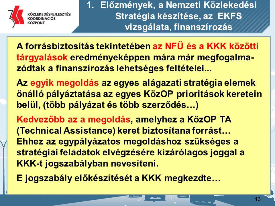 14 A Nemzeti Fejlesztési Ügynökség (NFÜ) az NKS és más stratégiai dokumentációk finanszírozható- ságával kapcsolatban a következő további fontos előírást rögzítette felénk: A korábban indított országos vasúti koncepciót a Nemzeti Közlekedési Stratégia keretében kell megvalósítani… 1.Előzmények, a Nemzeti Közlekedési Stratégia készítése, az EKFS vizsgálata, finanszírozás