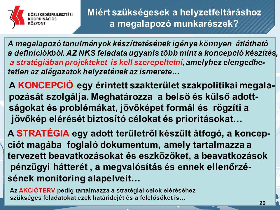 21 A Nemzeti Közlekedési Stratégia (NKS) kidolgozásának javasolt ütemezése Az elkészítendő stratégiát két tervezési ütemben kívánjuk elkészíttetni… I.ütem: a., Nemzeti Közlekedési Stratégia tematiká- jának és módszertanának elkészítése 2011.
