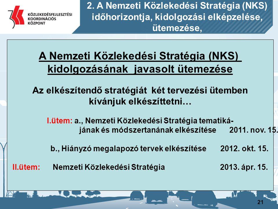 22 2. A Nemzeti Közlekedési Stratégia (NKS) időhorizontja, kidolgozási elképzelése, ütemezése,