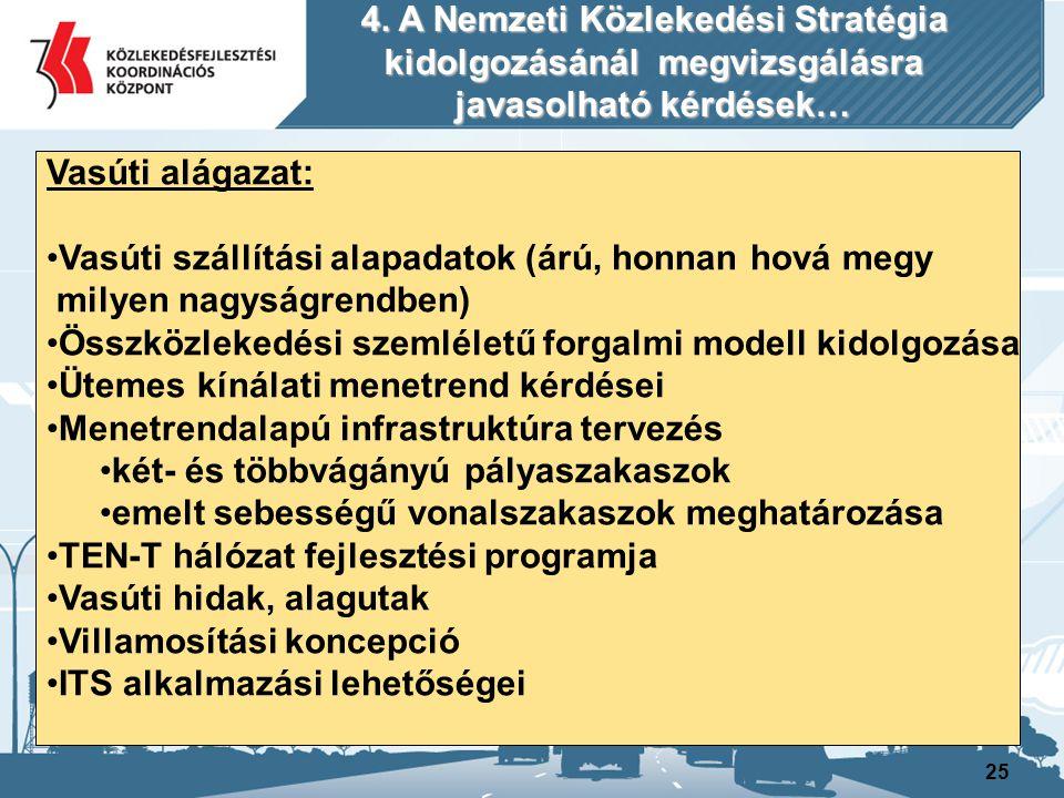 26 Vasúti alágazat: Elővárosi vasúti fejlesztési program Budapesti Elővárosi Koncepció továbbfejlesztése Vidéki nagyvárosok elővárosi vasútfejlesztése Tram-train rendszer kidolgozása Elegyrendezési koncepció, rendezőpályaudvarok felülvizsgálata V0 kiépítés és a széles nyomtávú vágányhálózat szükségessége Nagysebességű hálózat vizsgálata Liszt Ferenc Repülőtér kötöttpályás kapcsolata Kisterhelésű gazdaságtalan vasútvonalak kérdésköre Keskenyvágányú vasutak fejlesztése Turisztikai célú kötélpályák, siklók 4.