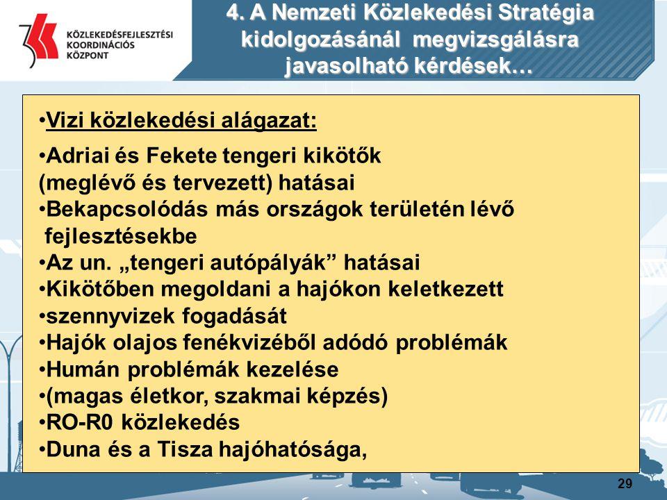 30 Vizi közlekedési alágazat : Kell-e Tiszán végig biztosítani a hajózást Kell-e Duna-Tisza csatorna Érdemes-e ismét tengeri szállítási flottát létrehozni Második balatoni komp Folyami hajóflotta korszerűsítése Csepeli szabad kikötő megközelíthetőségének javítása Igény van e újabb kikötőkre Duna folyamban rejlő lehetőségek kihasználása a fővárosi személyközlekedésben 4.