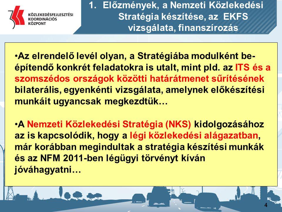 5 Az NKS készítéséhez ugyancsak kapcsolódó fontos további előzmény volt az, hogy elkészült az Országos Vasútfejlesztési Koncepció pályázat előkészítő tematikája számos egyeztetést követőleg 2010-ben, de a munka készítése a Nemzeti Infrastruktúra Fejlesztő Zrt-nél (NIF Zrt.) még nem indulhatott meg, nem született döntés ugyanis az új kormány részéről a munka indítására vonatkozólag… 1.Előzmények, a Nemzeti Közlekedési Stratégia készítése, az EKFS vizsgálata, finanszírozás
