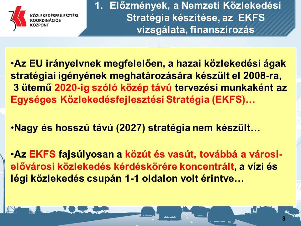 9 A 2008 óta időközben bekövetkezett változások miatt ma már az Egységes Közlekedés Fejlesztési Stratégia EKFS nem reprezentálja kellőképpen a 2020-ig elérendő stratégiai célokat és beavatkozásokat… igény jelentkezik továbbá egy nagy és hosszú távú összehangolt összközlekedési stratégia kidolgozására is … 1.Előzmények, a Nemzeti Közlekedési Stratégia készítése, az EKFS vizsgálata, finanszírozás