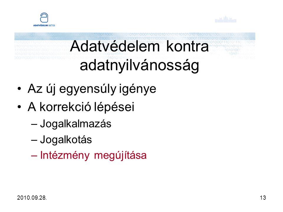 2010.09.28.14 Adatvédelem kontra adatnyilvánosság Információs biztos modell –Elnevezés módosítása és az adatnyilvánossággal kapcsolatos hatáskörök erősítése –Leválasztás az ombudsmani szervezetről (az adatvédelmi biztos kezdetektől nem ombudsman!) –Hatósági hatáskörök mindkét területen