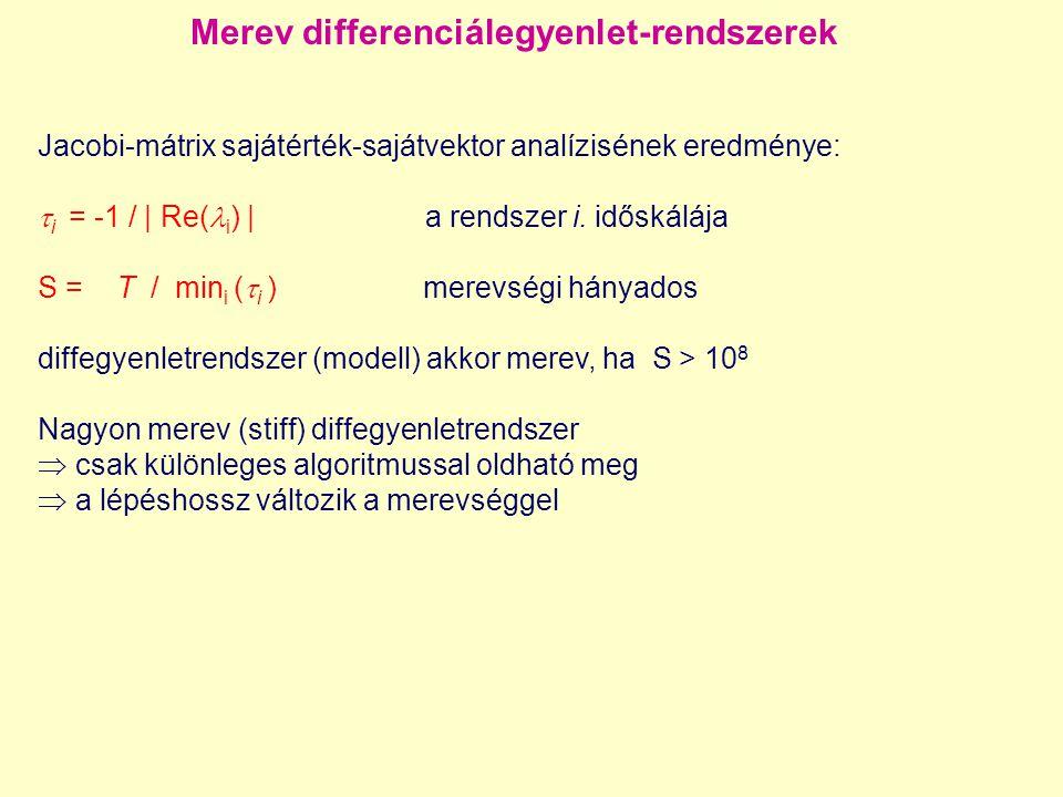 Kinetikai diffegyenletrendszer tulajdonságai Egy anyag koncentrációváltozási sebességére felírt differenciálegyenlet- rendszer csak elsőrendű deriváltat tartalmaz, ami a koncentrációk nem feltétlenül lineáris függvénye.