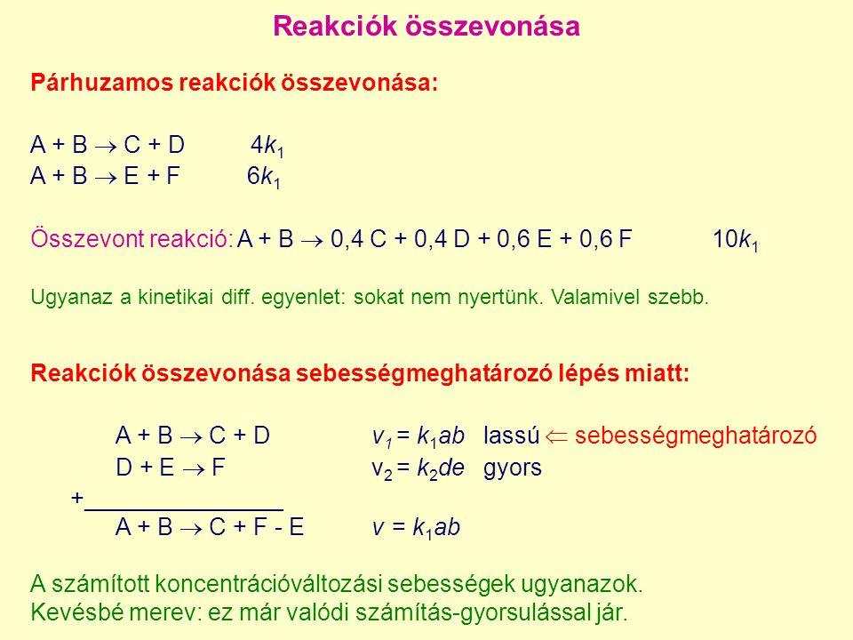 Anyagfajták összevonása (species lumping) h lineáris függvény  lineáris összevonás (linear lumping) h nemlineáris függvény  nemlineáris összevonás (nonlinear lumping) nincs információvesztés  pontos összevonás (exact lumping) majdnem ugyanazt kapjuk  közelítő összevonás (approximate lumping) változóvektorok egyes elemei azonosak:  kényszerített összevonás (constrained lumping) A matematikai probléma: az eredeti kinetikai diff egyenlet, Y dimenziója n diff egyenlet az összevont (lumped) változókra dimenziója n'  n ezzel térünk át az új változókra