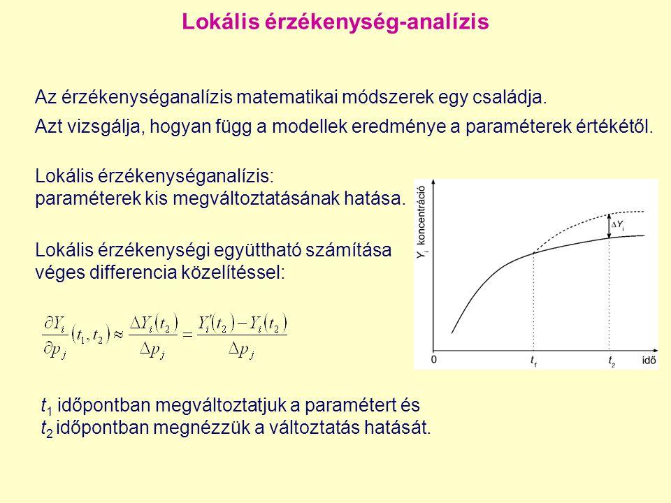 Lokális érzékenységanalízis 2 Lokális érzékenységi együttható: Lokális érzékenységi mátrix: Egy paraméter megváltoztatása: A lokális érzékenységek alapján becsülhető a paraméterváltoztatás hatása: Egy másik megközelítés: Taylor-sor közelítés Több paraméter megváltoztatása:
