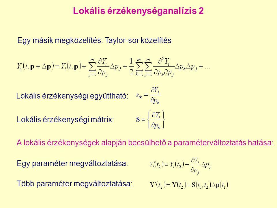 Lokális érzékenységanalízis 3 Ugyanez mátrix-vektor felírással: ahol közvetett hatásközvetlen hatás Ezt az egyenletet deriváljuk p j szerint, az eredmény: